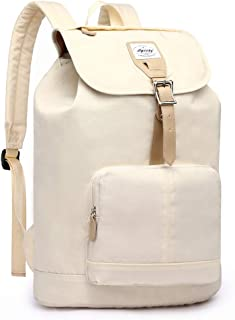 HaloVa Women's Backpack, Travel Shoulders Bag, Large Capacity Laptop Bag with USB Charging Port for Girls, Fits up to 15.6 Inches Laptop, Creamy White