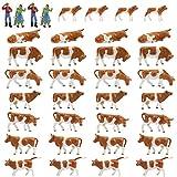 36Stk. Verschiede Rinder Figuren Bunt Spur H0 1:87 Dekor Tiere auf dem Bauernhof Modellbausatz -