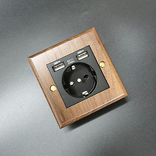Panel de nuez negro Palanca de latón Madera sólida 1-4 Gang Way Light Light de pared retro interruptor de conmutación Tipo 86 Interruptor de hotel (Color : 2 USB EU Socket)