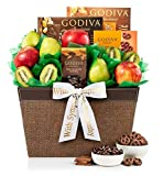 GiftTree Fresh Fruit & Godiva Sympathy Gift Basket | Includes Gourmet Chocolates and Confections from Godiva | Fresh Pears, Crisp Apples, Premium Kiwis in a Keepsake Container