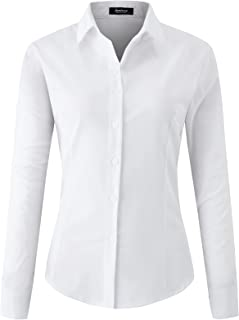jonivey Women's Button Down Shirt Long Sleeve Classic-Fit Collared Work Top