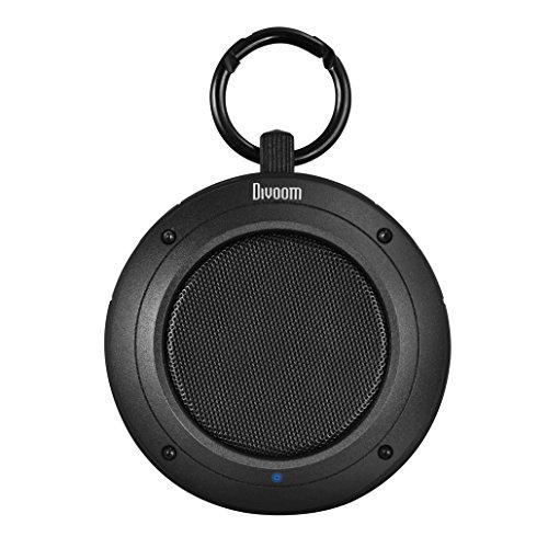 Divoom Voombox Travel, robuster Bluetooth Lautsprecher, spritzwasser- und staubgeschützt mit 4 Watt und Telefonfunktion - Schwarz