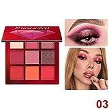 Profesional del maquillaje de 9 pigmentado sombra de ojos mate de la textura de terciopelo de Ojos Larga duración paleta de sombra (rojo)