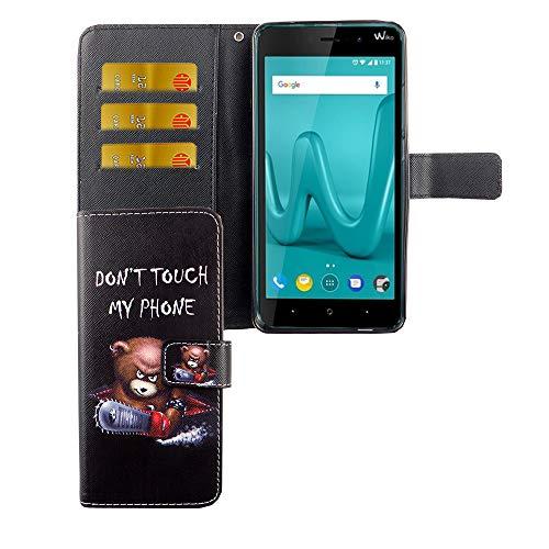 König Design Handyhülle Kompatibel mit Wiko Lenny 4 Plus Handytasche Schutzhülle Tasche Flip Hülle mit Kreditkartenfächern - Don't Touch My Phone Bär mit Kettensäge