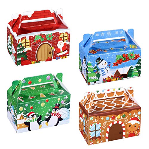 Hemoton 24 Stück Weihnachten Party Geschenkboxen 3D Weihnachten Haus Pappe Geschenkschachtel Kartonage Geschenkkarton Süßigkeiten Goodie Cookie Box für Urlaub Leckereien,15,5 x 9 x 9 cm