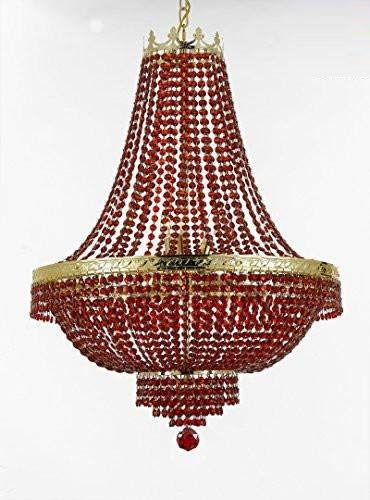 """Moroccan Style French Empire Crystal Chandelier Lighting - Dressed with Ruby Red Color Crystals! Great for a Dining Room, Entryway, Foyer, Living Room H30"""" X W24"""""""