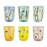 Glas Set aus Muranoglas mit milleblümchen, bunt und Blattsilber, selbstentzündend, 300 ml und...