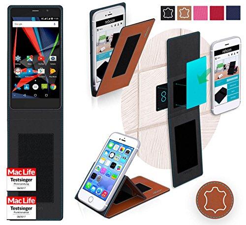 reboon Hülle für Archos 55 Diamond Selfie Lite Tasche Cover Case Bumper | Braun Leder | Testsieger