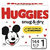 Huggies Snug & Dry Diapers, Size 1 (8-14 lb.), 144 Ct, Giga Jr Pack (Packaging...