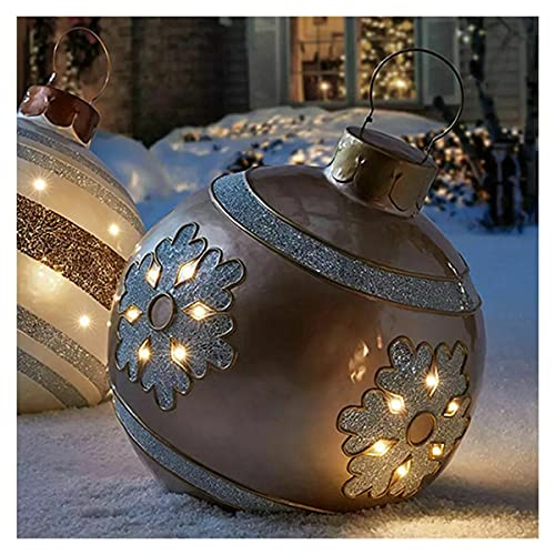 WYBF Outdoor Christmas PVC Inflatable Decorated Ball,23.7 inch Christmas Inflatable Ball Outdoor Garden Xmas Tree Decoration Ball Toy Gift (08)