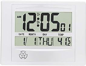 ساعة حائط رقمية من جيمي، تعمل بالبطارية وبساطة كبيرة ومنبه LCD بخاصية عرض درجة الحرارة والتاريخ واليوم للمنزل والمكتب H104...