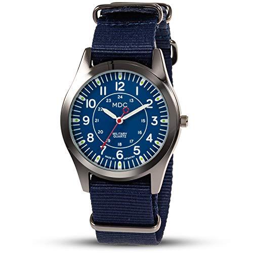Herren Armbanduhr Männer Uhren Männeruhr Militär Outdoor Uhr Analoge Arbeitsuhr Leuchtende mit Mode Blau NATO Nylonband by MDC