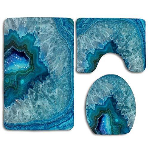 Aqua Turquoise Agate Mineral Gemstone 3 Pieces Bath Rug Set Toilet Seat U-shaped toilet floor mat,Pedestal Mat and Toilet Lid Cover