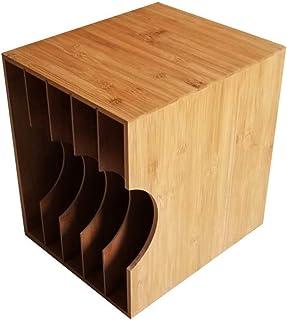 Caja de almacenamiento de madera de disco de vinilo LP, soporte de exhibición de disco de juego de CD DVD, caja de almacen...