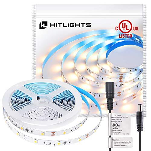 HitLights Warm White Light Strip, Premium 5050-16.4 Feet, 150 Leds, 3000K, 192 Lumens Per Foot. 12V DC. UL-Listed