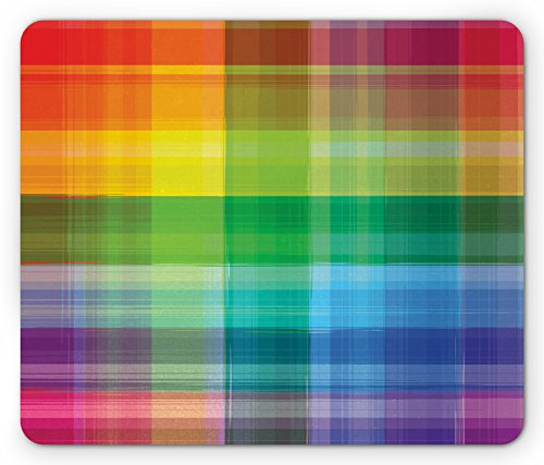Ambesonne Vintage Rainbow Mouse Pad, Retro Plaid Design Checkered Squares Rainbow Colored Geometric Pattern, Rectangle Non-Slip Rubber Mousepad, Standard Size, Orange Green