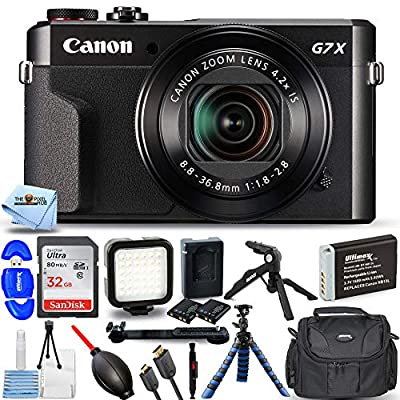"""Canon PowerShot G7 X Mark II (Black) 1066C001 - Pro Bundle with Extra NB-13L Battery, Ultra 32GB SD Card, LED Light Kit, Gadget Bag, 12"""" Gripster and More from Pixel Hub"""