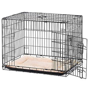Pawhut Cage Caisse de Transport Pliante pour Chien poignée, Plateau Amovible, Coussin fourni 91 x 61 x 67 cm Noir