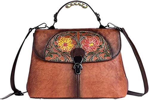 Costura Bolsos Retro para Mujer Bolso Bandolera En Relieve Tridimensional Bolso Bandolera Floral Hecho A Mano,B