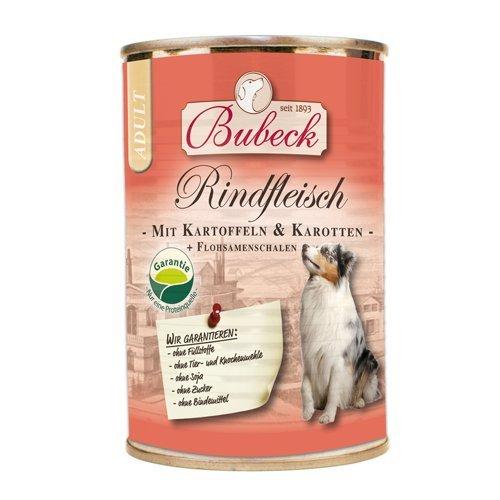 seit 1893 Bubeck Nassfutter für Hunde | Rindfleisch mit Kartoffeln & Karotten | Dosenfutter für Hunde Single Protein | 6 x 400g | Hundenassfutter glutenfrei | hoher Fleischanteil