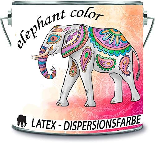 elephant color Latex Dispersionsfarbe diffusionsfähig Innenwandfarbe MATT in vielen einzigartigen Farben (2 l, Hell Grau)