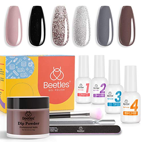 Beetles Dipping Powder Nail Starter Kit of 6 Colors Powder with Gel Liquid Essential Tools Set, for French Nail Manicure Nail Art Kit 4 pcs Dip Liquids 15ml/0.5oz.