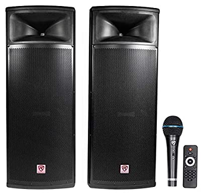 "Rockville Pair Dual 15"" 2000w Powered DJ Speaker System w/Bluetooth+Mic, RPG225K) from ROCKVILLE"