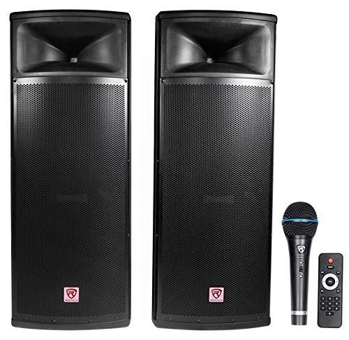 "Rockville Pair Dual 15"" 2000w Powered DJ Speaker System w/Bluetooth+Mic, (RPG225K)"