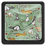 3 Stück Knöpfe und Ziehgriff Fancy Ratte Tier Grün für Kommode Kommode Schrank Badezimmer Küche Schränke Glas quadratisch
