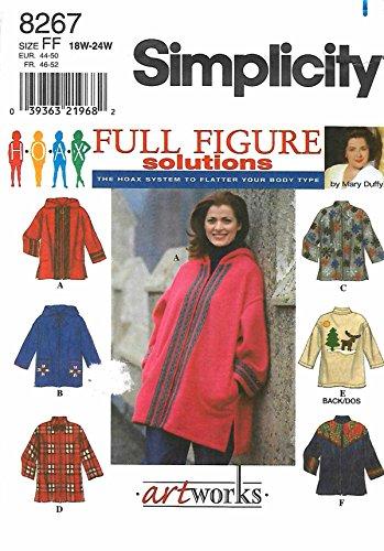 Simplicity Pattern 8267 Full Figure Solutions Women's Jacket, Size FF (18W-24W)