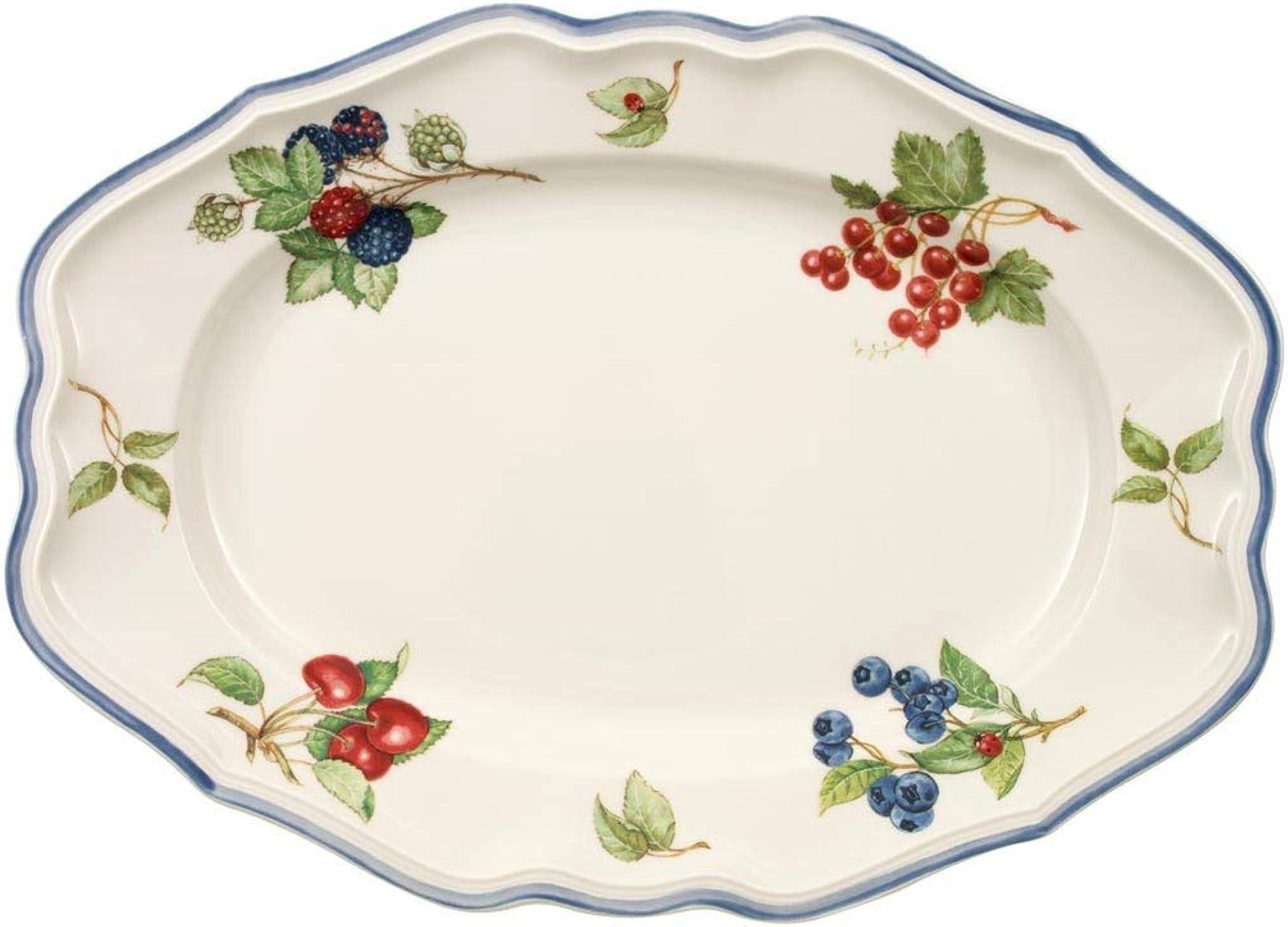 Villeroy & Boch Cottage Plat de service, 37 cm, Porcelaine Premium, Blanc MultiCouleure