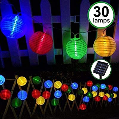 Solar Fairy String Lights,Bawoo Waterproof 30LED Outdoor Solar String Lanterns for Garden Outdoor Wedding Party (Multi-Color)