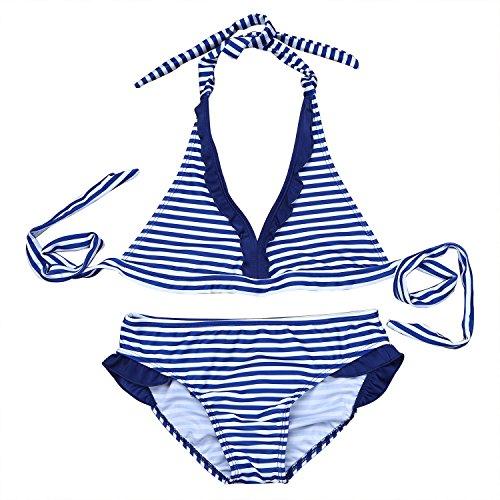 iiniim 2PCS Ropa de Baño para Chicas 8-16 Años Biquinis Halter Rayas Traje de Baño para Playa Azul 12 Años