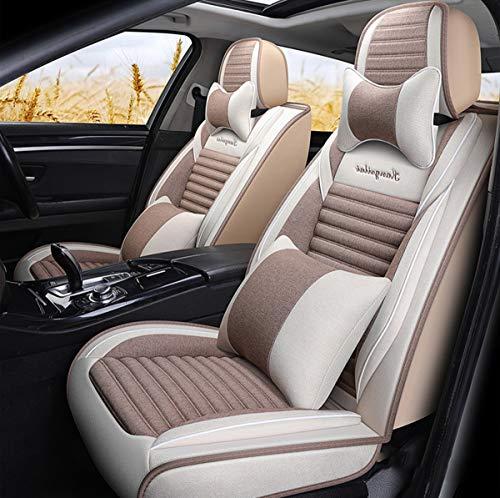 Fundas de tela para asientos de coche, funda de cojín de lino para vehículos de motor para coches, camioneta, SUV, juego de ajuste universal para accesorios interiores de automóviles,C
