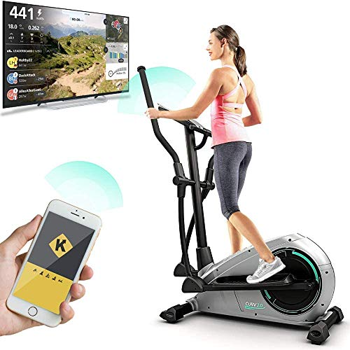 Bluefin Fitness CURV 2.0 Crosstrainer Ellipsentrainer | Home Trainer | Stepper für Zuhause | Air Walker | Kompakt | Digitales LCD Display | Bluetooth | Smartphone App | Schwarz & Grau Silber