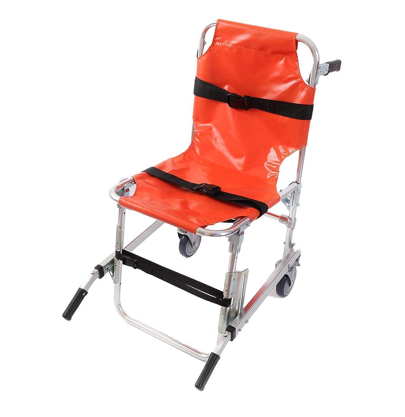 スパイラルライオン混乱したEMS階段椅子アルミ軽量2輪医療輸送チェア患者拘束ストラップ付き350ポンドの容量