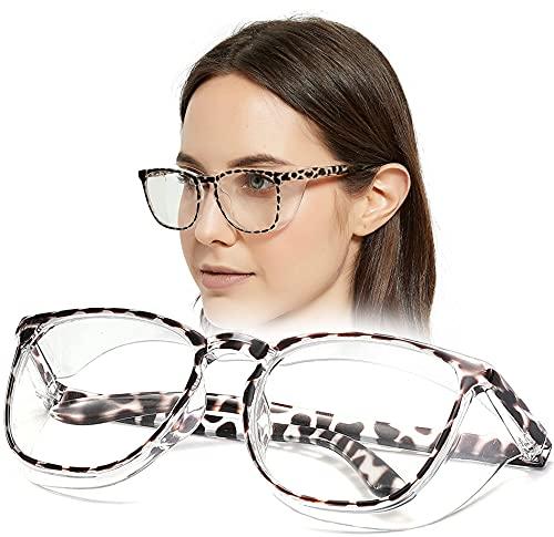 SeeBand Anti Fog Safety Glasses Nurse Goggles Oversize Square Frame Clear Anti Blue Light Glasses for Women Men (Black Leopard)
