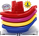 Matty's Toy Stop Plastic Nesting/Stacking Tug Boats (11') Red, Blue, Pink & Yellow Gift Set Bundle, Perfect for Bath, Pool, Beach Etc. - 4 Pack