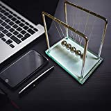 FAXADELLA Glasscradle Newton's Cradle Made of Glass | Newton Balls Luxurious Kinetic Toy