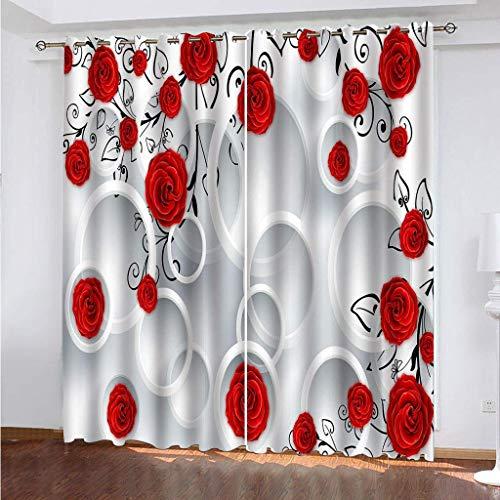 SYYCLF 3D Schlafzimmer Ösen Vorhänge Einfache rote Rose 264x160 cm 3D-Vorhänge Blackout Thermal Curtains Vorhänge zur Geräuschreduzierung, 3D-Digitaldruckvorhänge, Vorhänge für die Heimdekoration