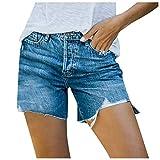 xoxing Women Shorts Jeans Pocket Denim Hole Solid High Waist Hot Slim Skinny Fit Mini High Stretch Pants Summer (AF)