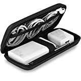 iMangoo Shockproof Carrying Case Hard Protective EVA Case Impact Resistant Travel 12000mAh Bank Pouch Bag USB Cable Organizer Earbuds Sleeve Pocket Accessory Smooth Coating Zipper Wallet Black