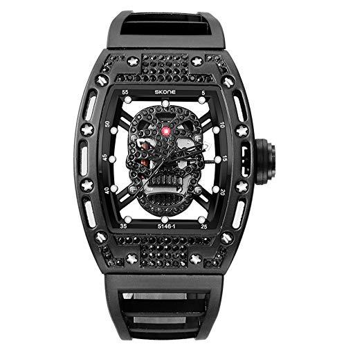CXJC Relojes deportivos al aire libre de los hombres, nuevos relojes de cuarzo de cráneo de diamantes de alto grado, relojes mecánicos de acero inoxidable resistente a los rasguños y a prueba de golpe