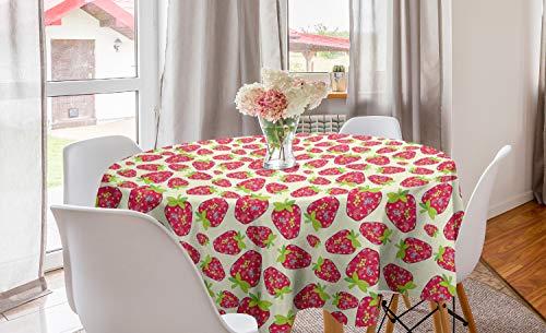 ABAKUHAUS Fresa Mantel Redondo, Los Motivos de Frutas Paisley, con Estampa Digital Decorativa para Comedor o Sala de Estar, 150 cm, Multicolor