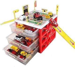 XIN Cars Kids Boys Toy Children's Parking Lot Toy, Set Car Alloy Car, Boy Storage Box Multi-Storey Garage with 6 Cars