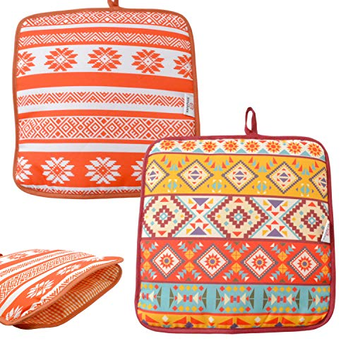 Microwaveable X-Large Tortilla Warmer Pouch 2 Pack - 2 Fun Designs to make taco night special. 12 Inch in Diameter Microwave Corn or Flour Tortillas, Pizza, Naan Bread (Square Mexican Pattern)