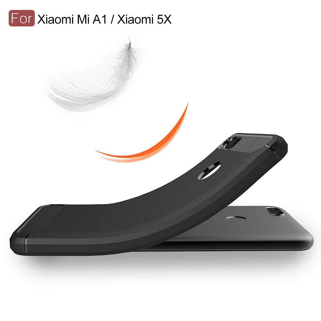 Yoowei Funda negra para Xiaomi Mi A1 con [2 Pack de película ...