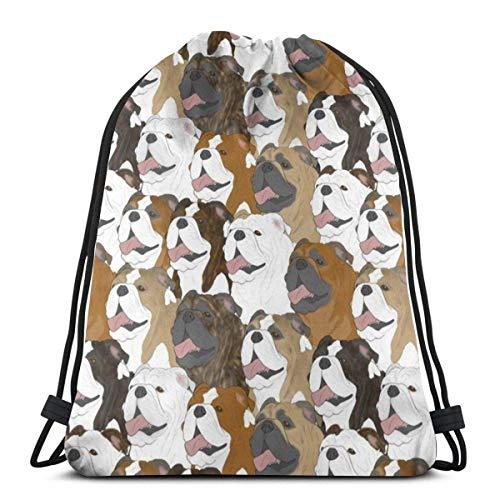 Bulldog Portrait Pack Mochila con cordón con impresión 3D, mochila de hombro, bolsa de deporte, bolsa de gimnasio, para adultos, 40,6 x 35,5 cm