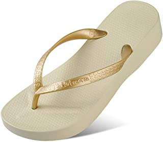 Comfortable/beautiful sandals and slippers Pvc Flip-Flops Female Thick Bottom Wear Seaside Beach Shoes Simple High-Heeled Sandals And Slippers (Color : Apricot)