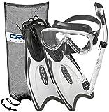 Cressi Italian Design Collection - Palau Long Self Adjustable Fin - Purge Dry Top Snorkel - Onda Silicone Mask - Mask Fin Snorkel Set - Wehite/Black - ML, White, M/L | US Man 8.5/11 | US Lady 9.5/12
